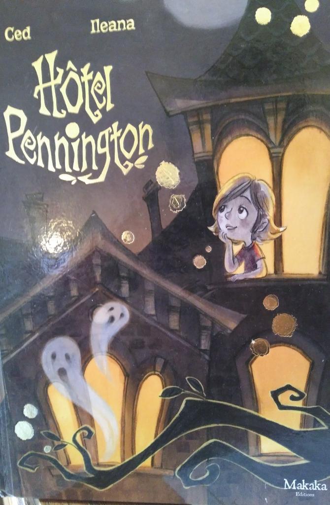 La couverture présente un vieux manoir d'une architecture ancienne. Type 19ème. Une maison en bois. Belle mais lugubre. Une fillette sereine rêve à la fenêtre, deux fantômes apparaissent en bas de la page, elle ne les voit pas. Les couleurs noirs et violettes plante un décor pesant.